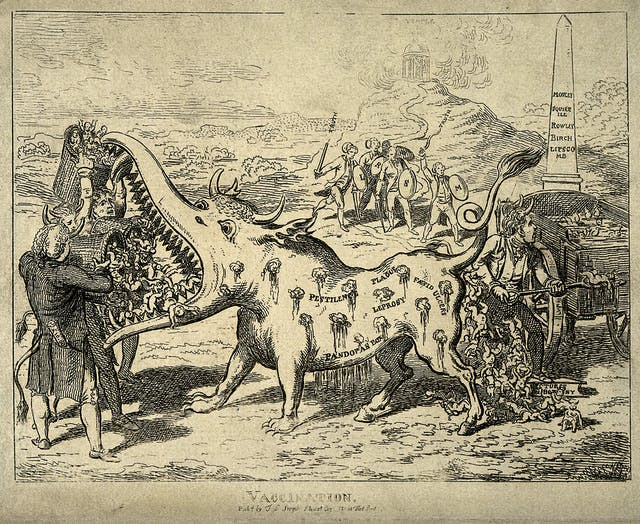 Vaccinators feeding babies to the vaccination monster, Charles Williams, possibly 1802.