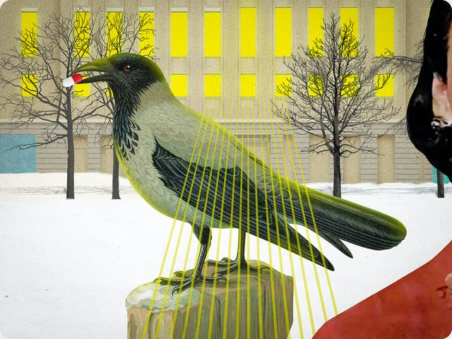 Detail from a larger mixed media digital artwork combining found imagery from vintage magazines and books with painted and textured elements. The overall hues are greens, yellows and pinks. At the centre of the artwork is a crow in profile, stood on a rock with a white and red pill capsule in its mouth. Behind the crow is a snowy scene surrounding a large industrial building. The lights inside the building are bright yellow with fans of laser lights shining out of the windows towards the viewer over the back of the crow.