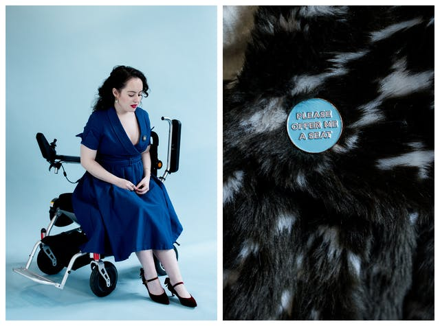 Photographic diptych. The image on the left shows a young woman in a blue dress against a light blue background, seated sideways on her wheelchair. She is looking down towards her feet. The image on the right shows a close-up of  the shoulder of a faux fur coat with a small circular badge attached. The badge reads,