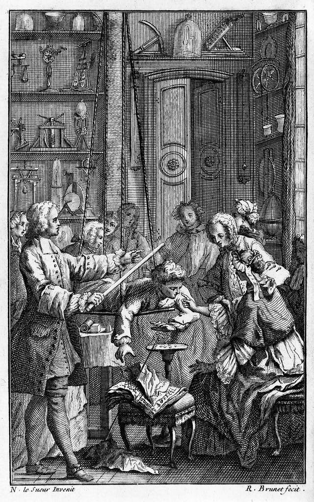 Etching of an experiment involving a man carrying a rod with a woman in the middle of the group.