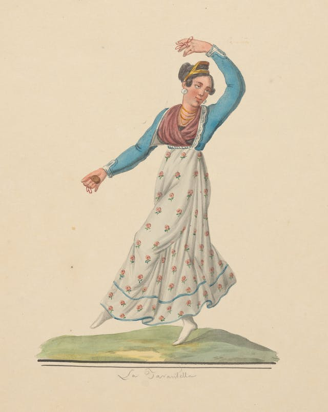 Image of lady dancing, wearing long skirt.