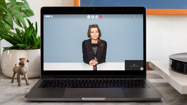 Portrait of Elif Shafak on a video call on a laptop. Elif appears on the laptop screen. On the desk around the laptop, there is a plant and a small wooden figurine of a dog.