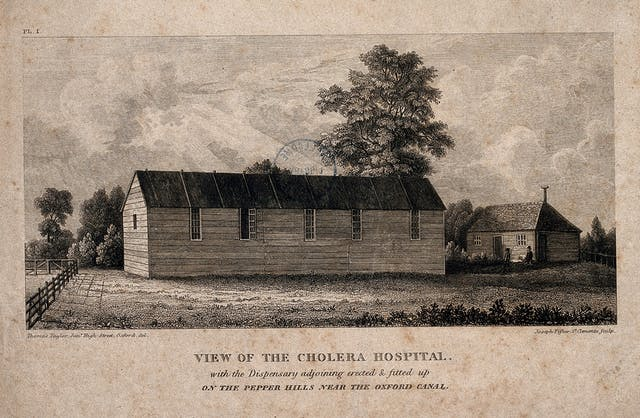 Side view of a Cholera Hospital in Oxford. The text reads: