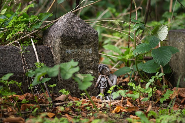 Photograph of small sitting Buddha within the surroundings of a cemetery, with grave stones and ivy.