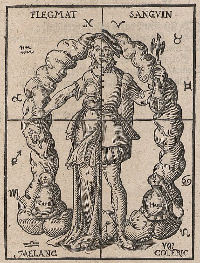 A medieval figure standing encircled by alchemical symbols. The image is divided in four quarters to represent the four humours.