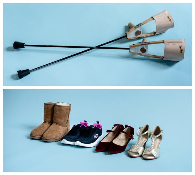 Photographic diptych. The image on the top shows a pair of designer crutches lying on a light blue background, one lain across the other to form a cross. The image on the bottom shows a line of 4 pairs of shoes on a light blue background, from suede ankle boots to trainers, to high heels.