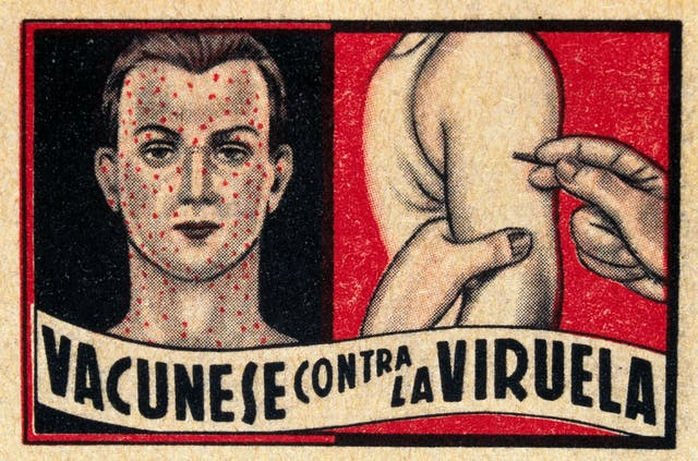 "Spanish print stating: ""Vaccinate against the smallpox"", around 1940."