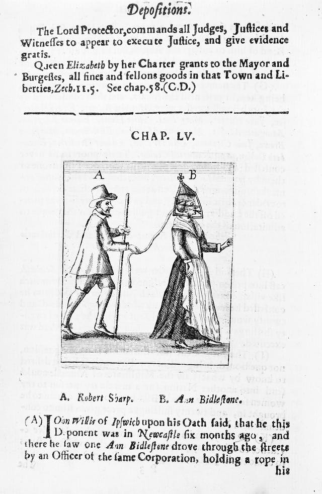 Black and white book illustration showing a man and a woman, the woman is on a leash and wearing a bridle.