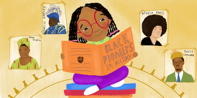 Digital colour illustration. The illustration shows a young girl in the centre of the image, of a Mixed ethnic background. She is sitting, cross-legged, on a pile of books. She is wearing bright red glasses and is smiling as she reads the large book she is holding in her hands. The book has an orange cover and the title on the front is