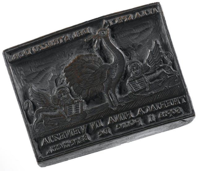 Wooden stamp with ostrich for theriac labels