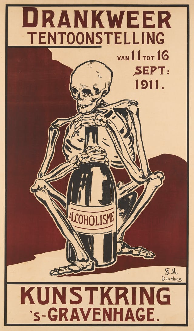 A poster showing a skeleton clutching a large bottle. Poster text in Dutch.