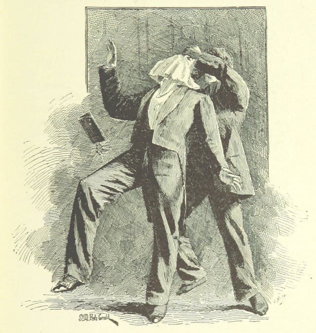 Black and white book illustration showing a man being attacked by another man, who holds a large hanky over his victim's face