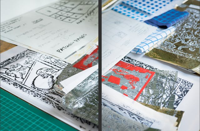 Photographic diptych, both images showing a table top containing sheets of sketches and foil screen printing masks in gold and silver.