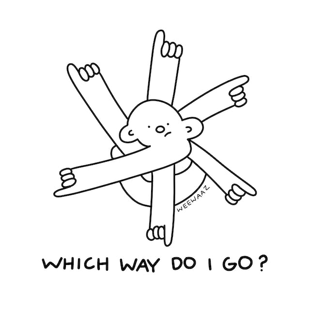 A cartoon figure with 6 hands pointing in different direction. The accompanying text reads 'Which way do I go?'.