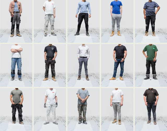 A five across by three down grid of photographs, each showing a male buildervfrom the neck down against a grey background. Each man is wearing a different outfit depending upon his trade.