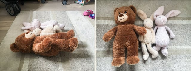 Photographic diptych. The image on the left shows a line of three soft toys lying on their backs on a grey stripy rug with a thick pile. The toys are viewed from the side and from a low angle. A large brown teddy bear can be seen at the front, with two smaller bunny rabbits in orange and pink in the distance. The image on the right shows the same three soft toys but from overhead looking directly down.