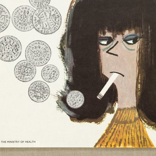 "Image showing a woman smoking with coins in place of the smoke. The text reads: ""So she said she was giving up smoking so she could save money and I said don"