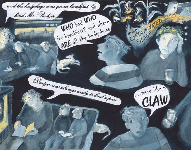Watercolour comic with people and speech bubbles reading: