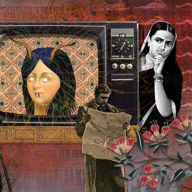 Illustration using collage techniques. Image shows a scene made up of mainly red and purple hues. In the centre of the image is a tv screen with the head of a woman, her eyes replaced with white dots and horns growing out of her head. To the right of the tv a woman in black and white looks towards the screen her left hand holding her chin. Beneath the screen a man reads a newspaper. To the left of the screen an group of people look towards the screen, one has a camera, another clasps his head with his hand. Around the border of the image are palm leaves and a some flowers in a ceramic vase.