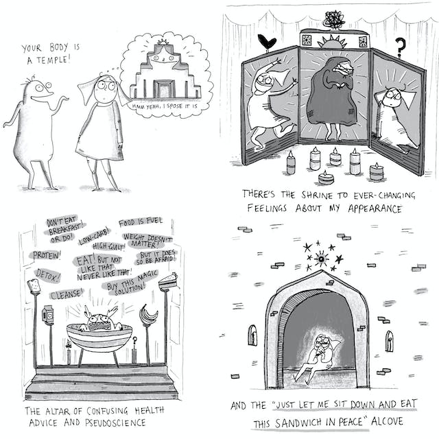 Web comic comprising four panels showing how the human body is a temple, a shrine to every feeling about your appearance, alters of confusing health advice and a place  to sit down and eat a sandwich in peace.