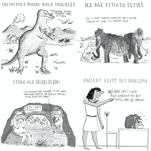 Web comic comprising four panels looking at food struggles throughout the ages.