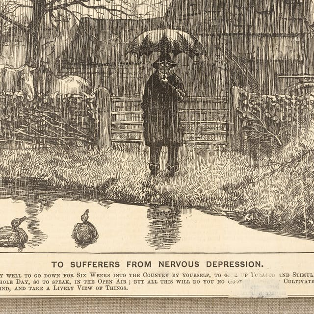 Photograph of a wood engraving from a 1869 newspaper, showing a depressive man holding an umbrella, standing by a country pond in the pouring rain. Beneath the engraving is the title,