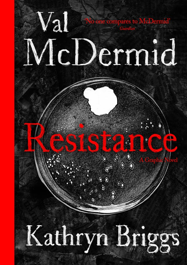 A book cover featuring a black and white photo and red text. The photo is of a petri dish containing white bacteria colonies.