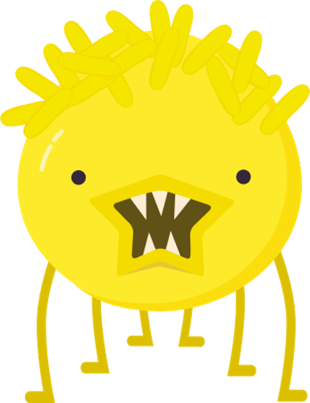 Cartoon image of virus as a bright yellow bug with sharp teeth and spiky hair.