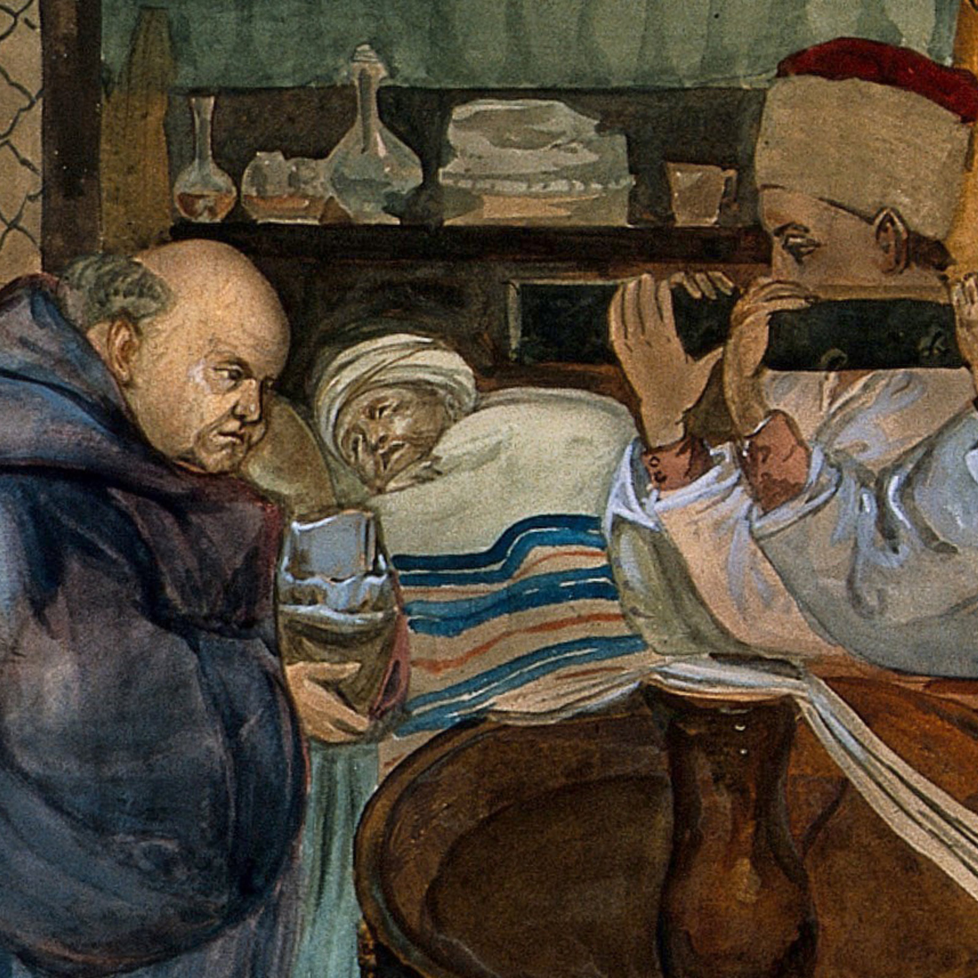 15th century fresco showing a monk taking the confession of a dying man.