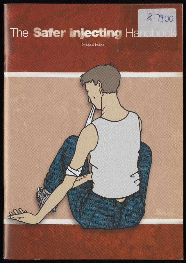 Red and pink pamphlet front cover, with an illustration of a person sitting down with their back to us, preparing to inject.
