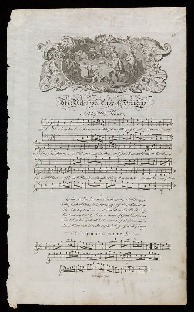 """The engraving of the drunken party is an adaptation of the print """"A midnight modern conversation"""" by William Hogarth, ca. 1732. Composer of music inferred to be George Monro from songs of similar date in the Bodleian Library catalogue. Music is written for both the piano and the flute."""