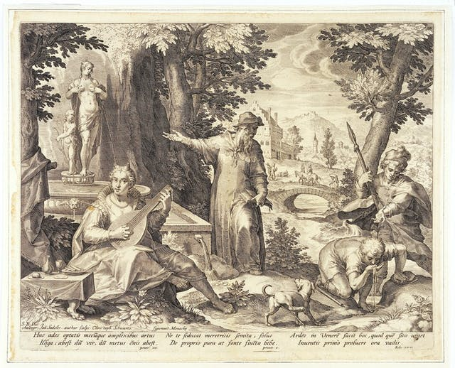 Image of forest scene with a woman playing a guitar, a man drinking from a stream and two other men and a dog.