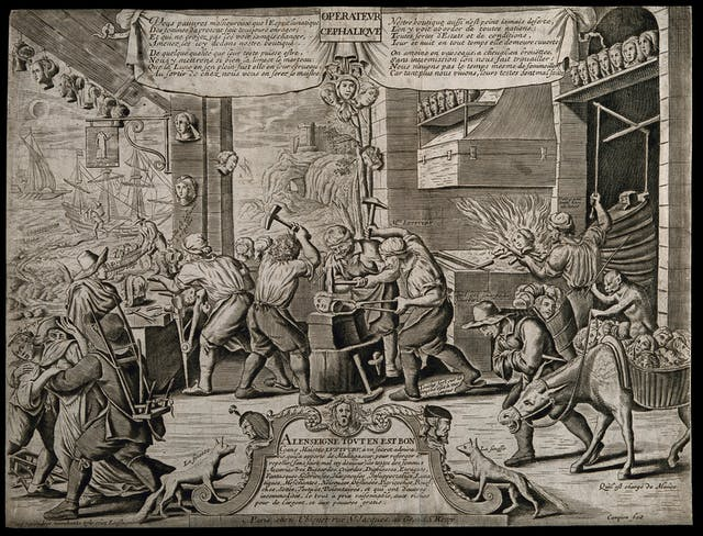 Black and white illustration showing men hard at work in a forge. They are forging women's heads.