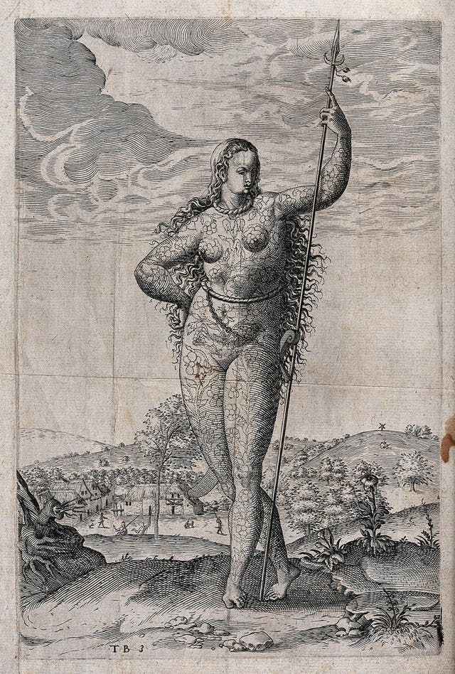 Etching of a naked lady covered in floral tattoos standing in an open landscape.
