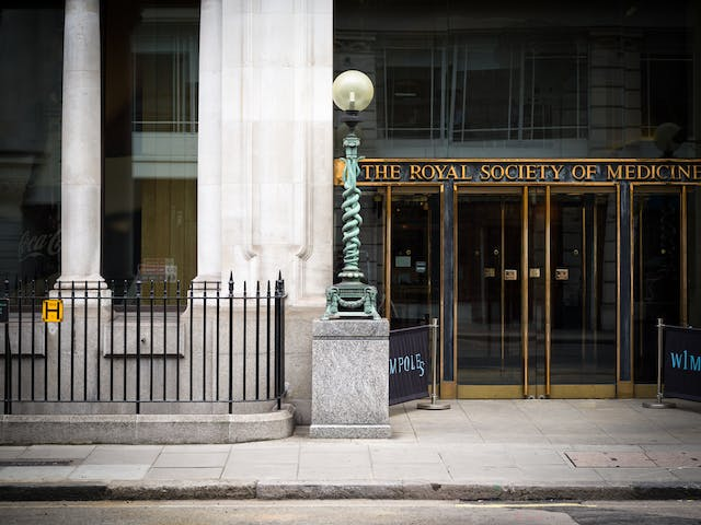 Lamp outside the Royal Society of Medicine, London featuring two snakes entwined.