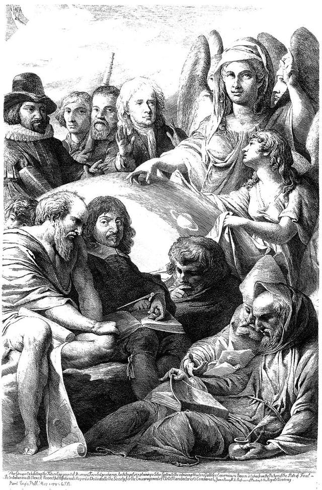 Black and white image of a crowd of men seated around a female angel.