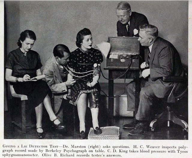 A black and white photograph of five people. Dr Marston sitting on the far right of the scene asks questions to to a female subject who is taking a lie detector test. H.C. weaver inspects the polygraph record, which is being produced by the Berkeley Psychograph on the table next to the subject. C.D. King takes the blood pressure of the subject with a Tycos sphygmomanometer. Olive Byrne seated on the far left records the answers.