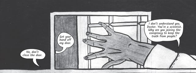 The greyscale graphic novel continues. The fourth image contains a black background with a small section of Dr Siddiqui