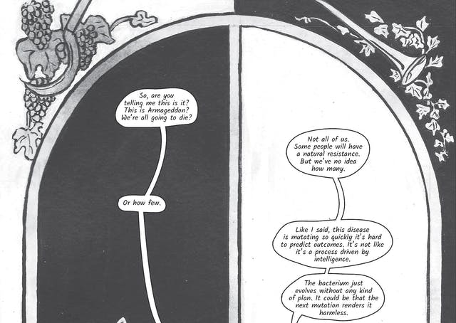 The greyscale graphic novel continues. The fourteenth and fifteenth image are one large illustration  split across two images. The whole combined image shows a large arched window with sculpted decoration in the top left and right corners of grapes on a vine and a trumpet horn. At the window are the women looking out, Zoe on the left against a black background and Dr Siddiqui on the right against a white background. In the fourteenth image Zoe asks,
