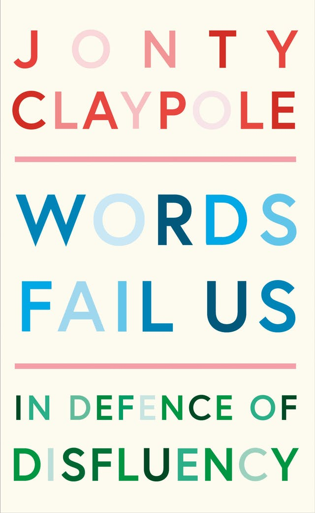 Book cover featuring a typographic design in pink, red, blue and green