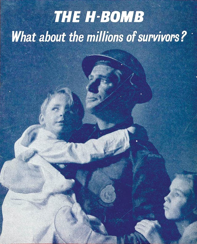 Cover of a pamphlet: 'The H-bomb: what about the millions of survivors?'