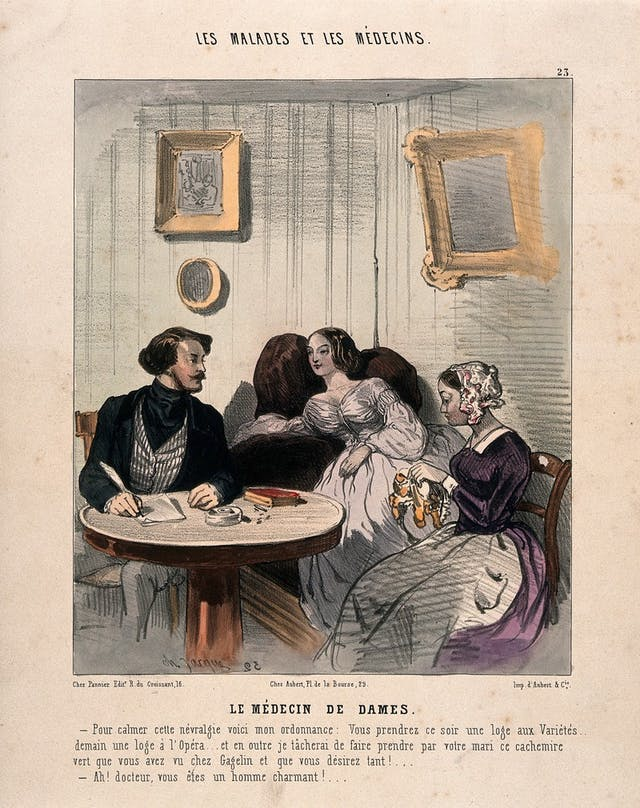 Image of lithograph with watercolour featuring a man, a women in a nice dress and a maid sat around a table.