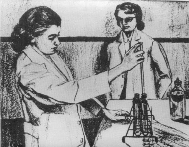 Two women in a scientific laboratory.