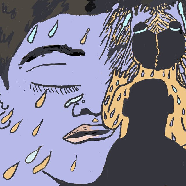 Webcomic showing half a face with a closed eye, coloured purple, with blue and orange droplets on. On the right of the frame, the silhouettes of two people are shown, one coloured yellow with purple and blue droplets on their body, and one black.