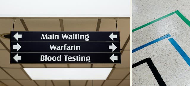 Photographic diptych showing two hospital interiors. The image on the left shows signage hanging from the ceiling with bold arrows directing people to,