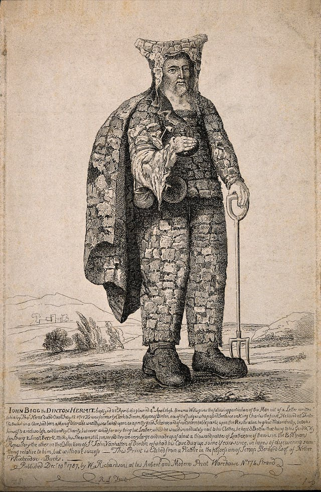 Sepia sketch of a man with a beard wearing strange patchwork clothes and holding a pitchfork