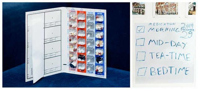 Photographic diptych. The image on the left shows a book type, week medication planner containing a holder for the pills required, morning, mid-day, tea-time and bedtime - Monday to Sunday. The planner is stood on it