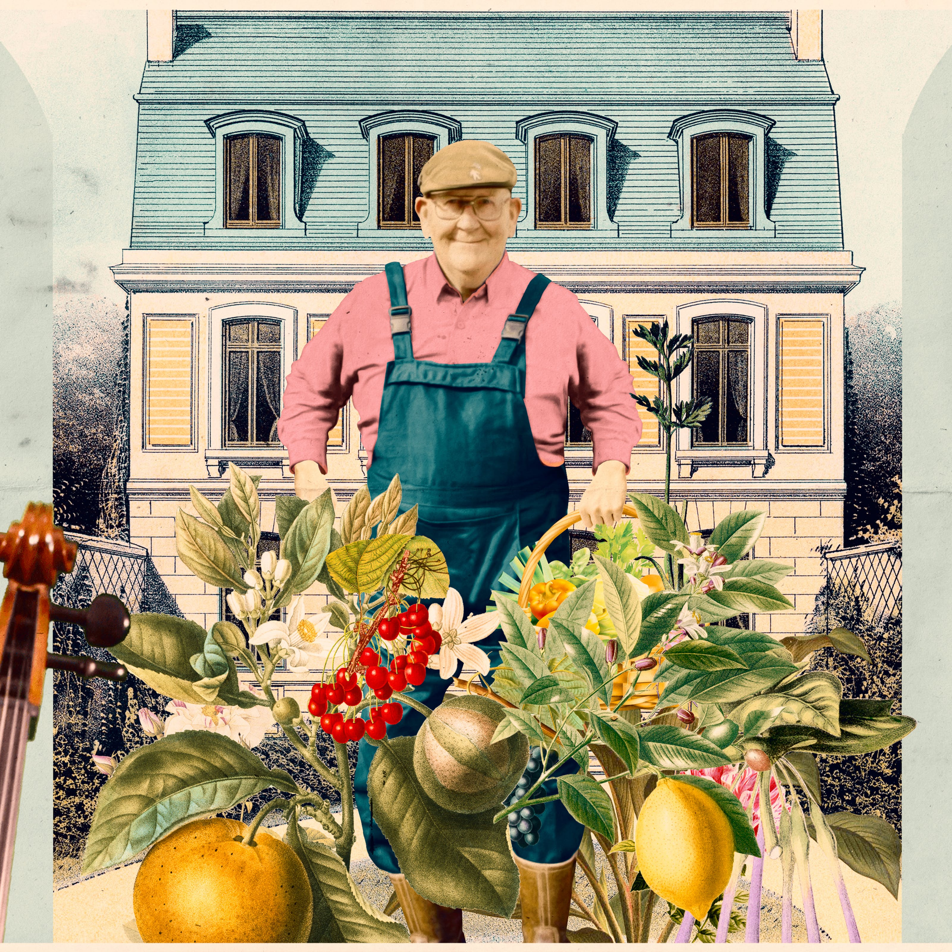 Mixed media digital artwork combining found imagery from vintage magazines and books with painted and textured elements. The overall hues are light blues, pinks, creams, greens and yellows. At the centre of the artwork is a photograph of an older man wearing glasses in a flat cap, smiling towards the viewer. He is wearing a pair of blue dungarees and a pink long sleeve collared shirt. Below and in front of his legs is a great collage of fruit and vegetables, flowers and leaves. Behind him in the background is a drawing of 3 storey home. The top floor is in the tiled roof which is tinted blue. To the left of the image is the profile of an older man with grey hair looking down towards the ground, facing the centre of the image. He is pictured from the chest up and is wearing a blue suit jacket, white shirt and a red tie. Behind him is an old illustration of a grand library room with large bookshelf and old furniture. In front of his nose is the neck and pegbox of a stringed instrument, probably a cello, appearing into view. To the right of the image is the profile of an older man with grey hair looking down towards the ground, facing the centre of the image. He is pictured from the chest up and is wearing a yellow cycling shirt and a cycle helmet with orange lights around the side at the back. Behind him is an illustration of a large mountain scene with rock faces, valley and the buildings in a small village.