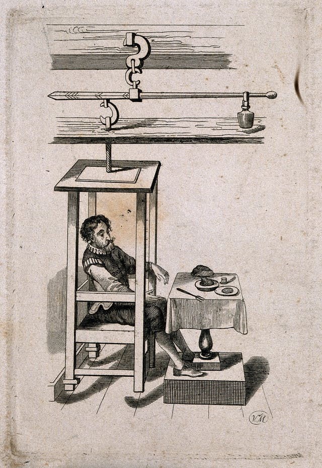 Sanctorius Sanctorius, an experimentalist sitting in a chair hanging from a lever, with a table set with food before him.
