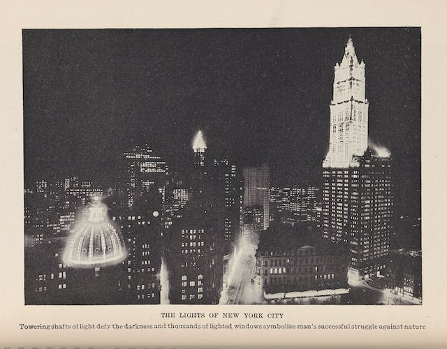Black and white photograph of New York City at night.